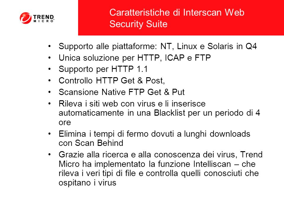 Caratteristiche di Interscan Web Security Suite
