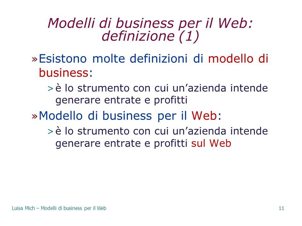 Modelli di business per il Web: definizione (1)