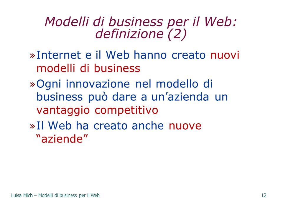 Modelli di business per il Web: definizione (2)