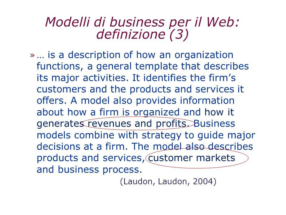 Modelli di business per il Web: definizione (3)