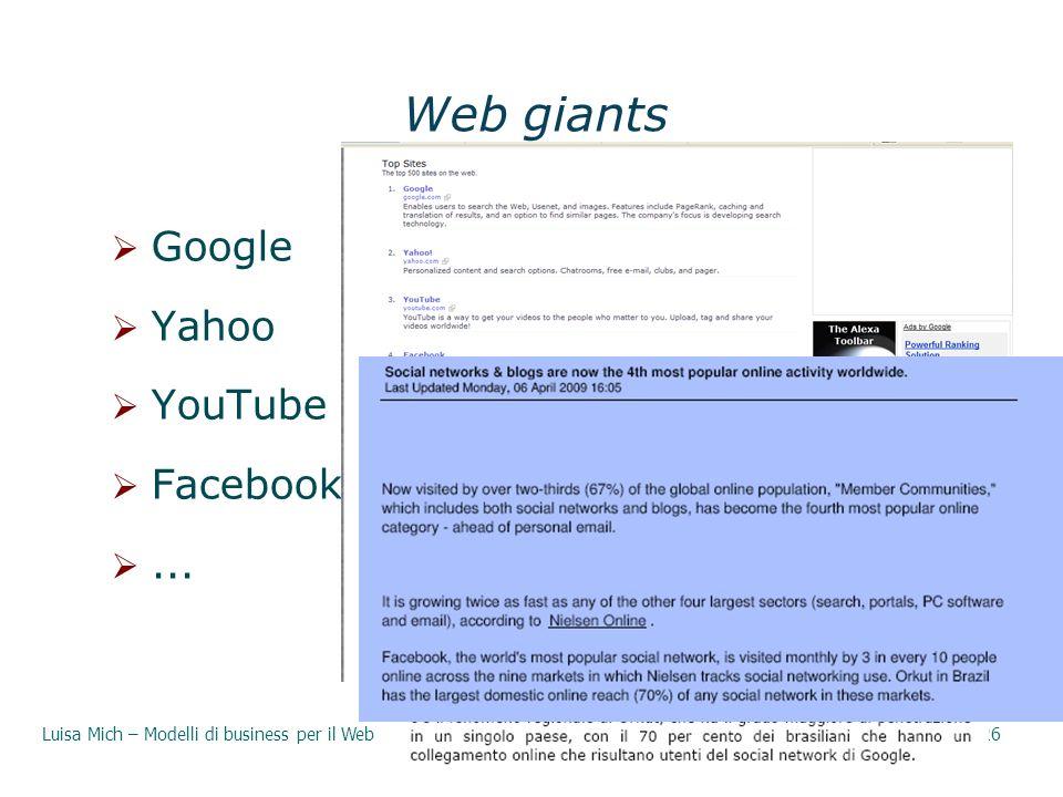Web giants Google Yahoo YouTube Facebook ... 29/03/2017