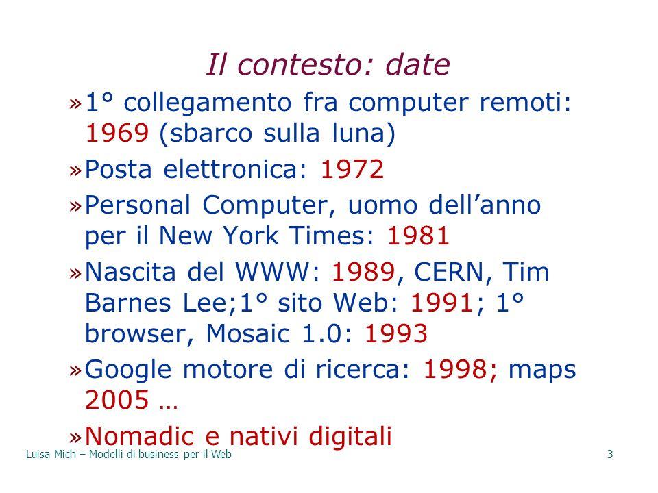 29/03/2017 Il contesto: date. 1° collegamento fra computer remoti: 1969 (sbarco sulla luna) Posta elettronica: 1972.