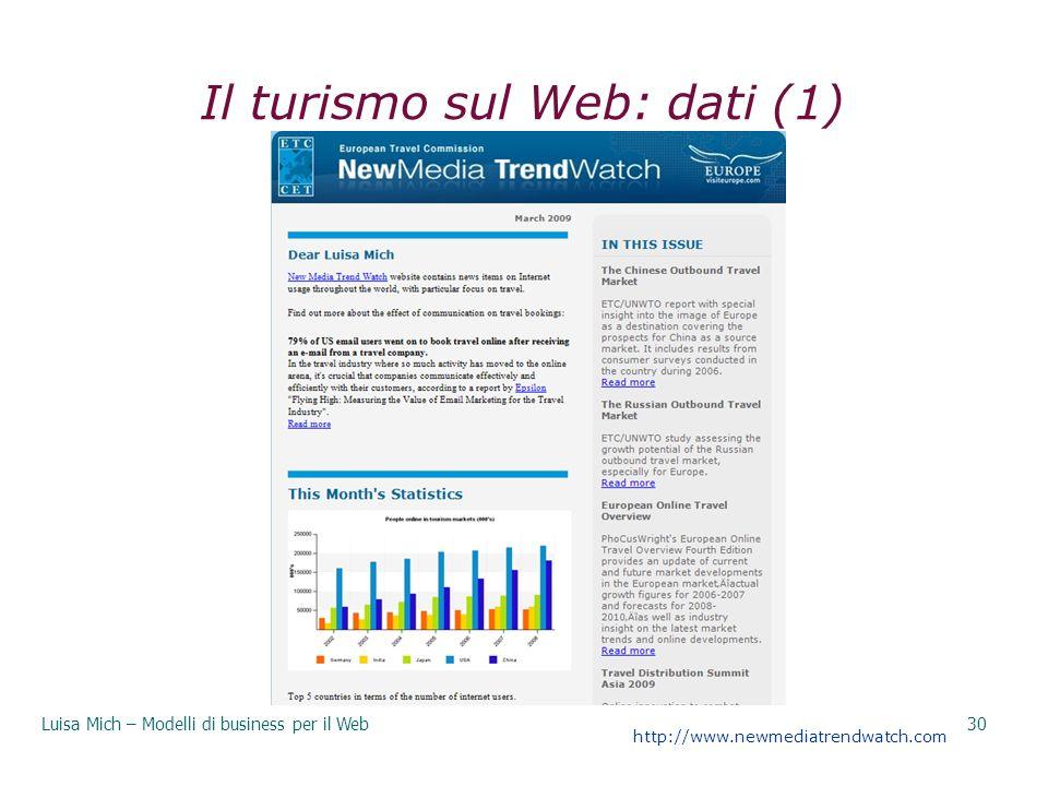 Il turismo sul Web: dati (1)