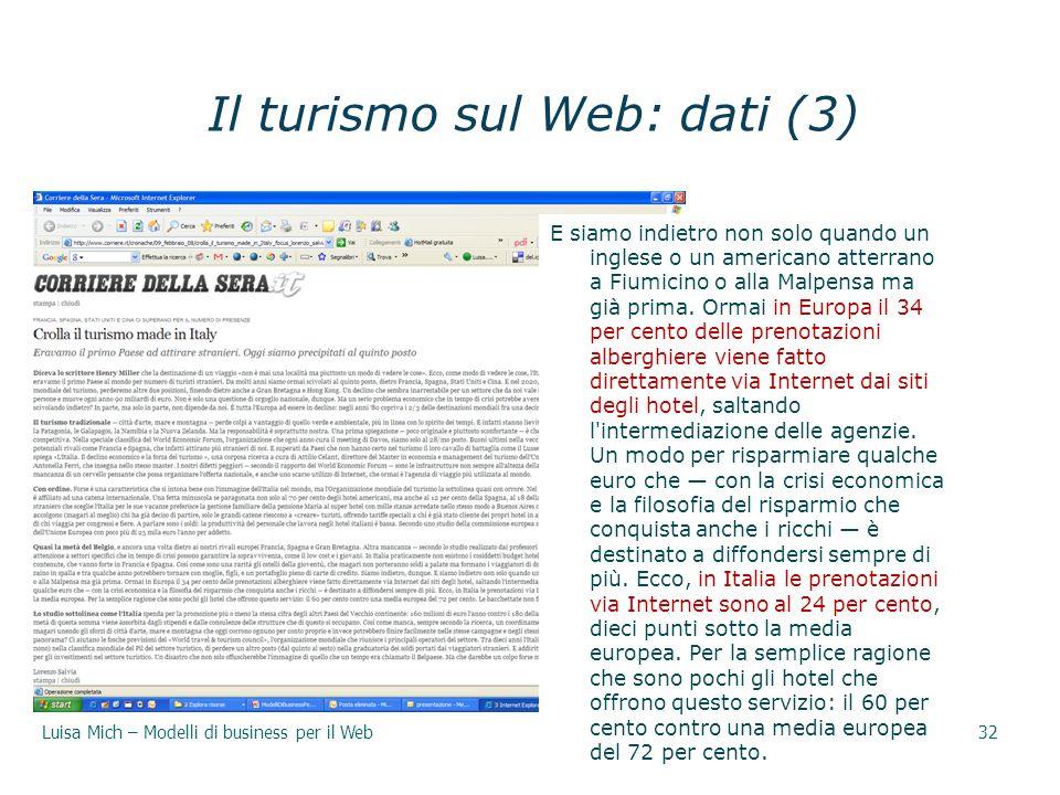 Il turismo sul Web: dati (3)