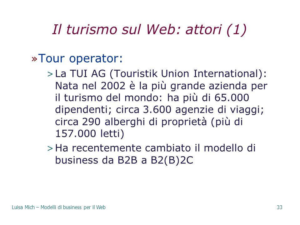 Il turismo sul Web: attori (1)