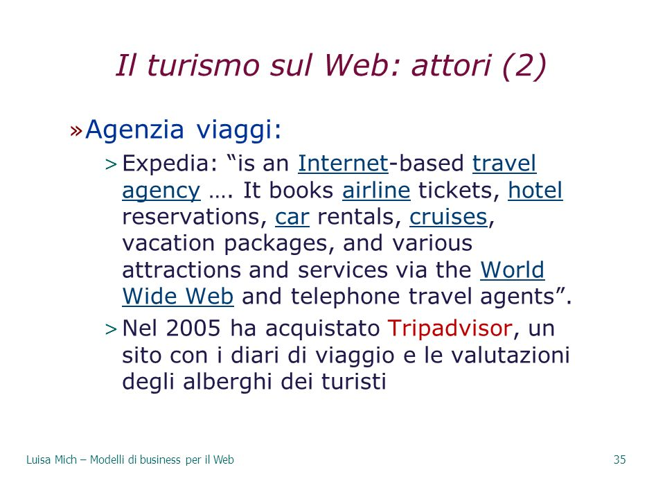 Il turismo sul Web: attori (2)