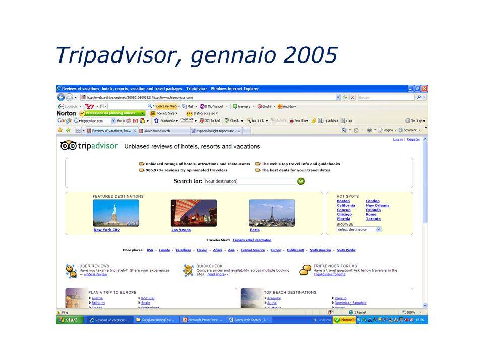 Tripadvisor, gennaio 2005