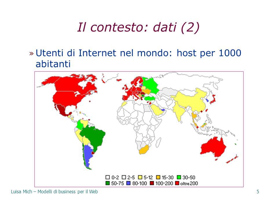 29/03/2017 Il contesto: dati (2) Utenti di Internet nel mondo: host per 1000 abitanti.