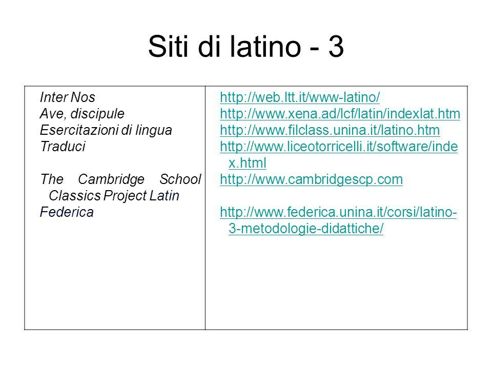 Siti di latino - 3 Inter Nos Ave, discipule Esercitazioni di lingua