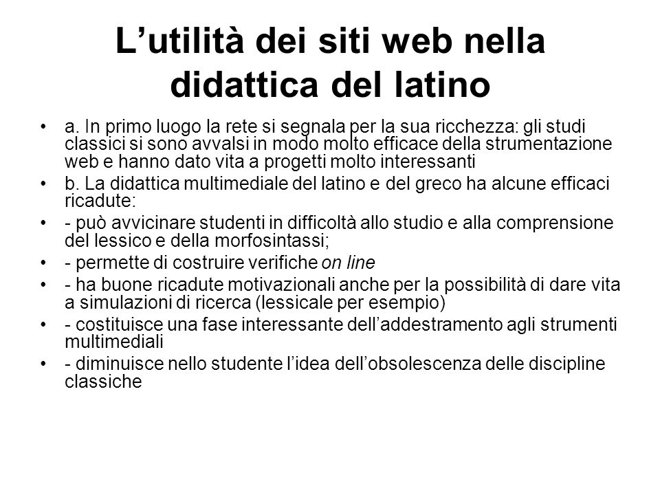 L'utilità dei siti web nella didattica del latino