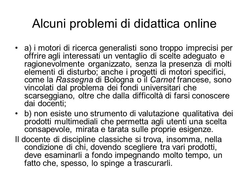 Alcuni problemi di didattica online