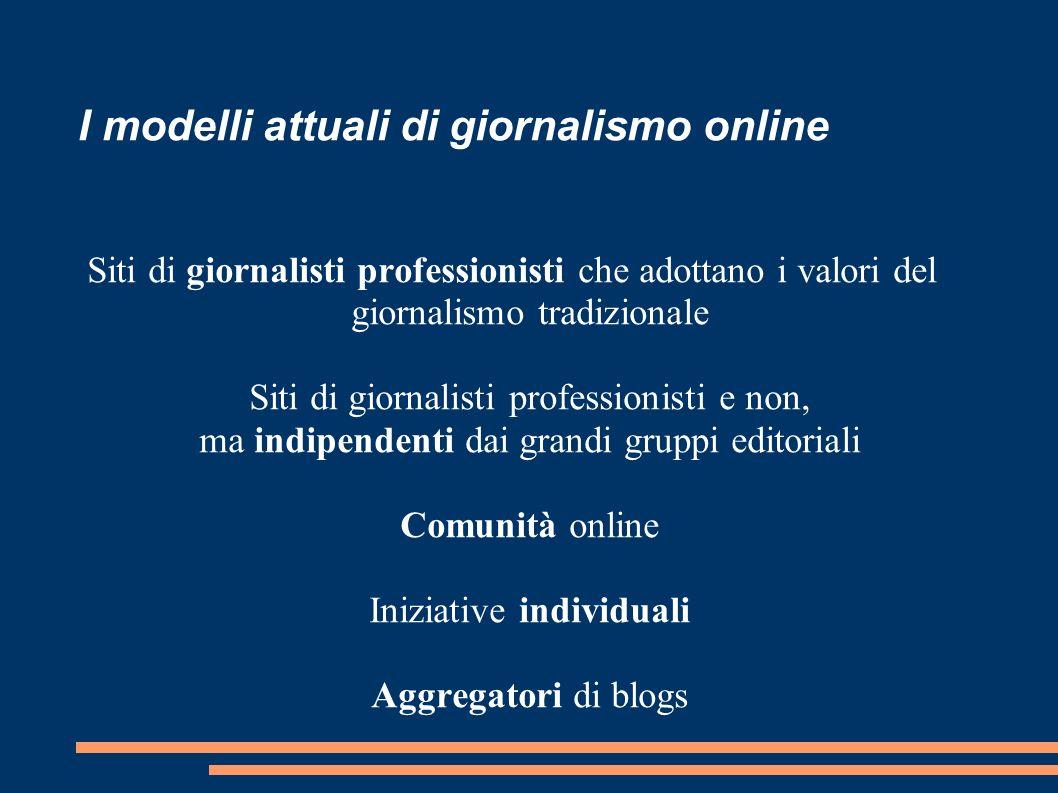I modelli attuali di giornalismo online