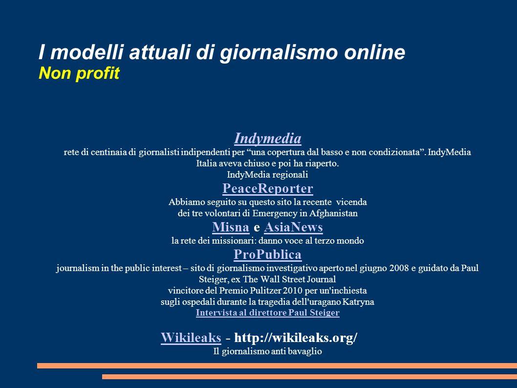 I modelli attuali di giornalismo online Non profit