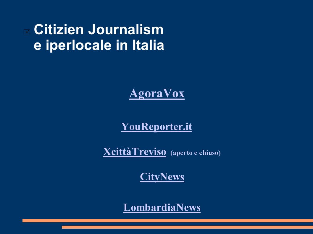 Citizien Journalism e iperlocale in Italia
