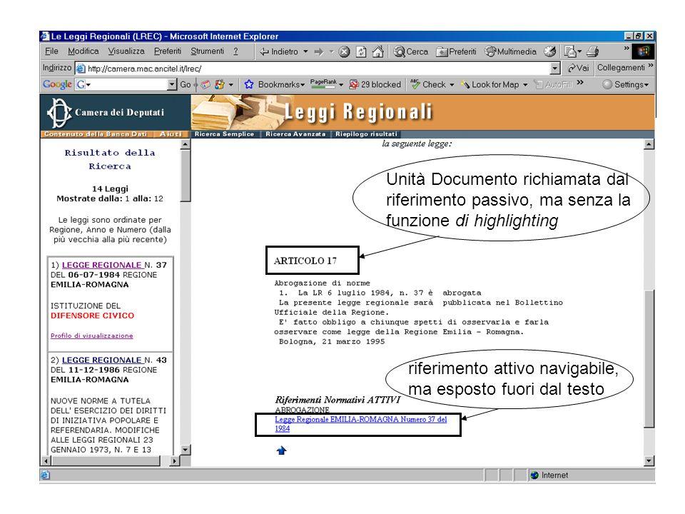 Unità Documento richiamata dal riferimento passivo, ma senza la funzione di highlighting