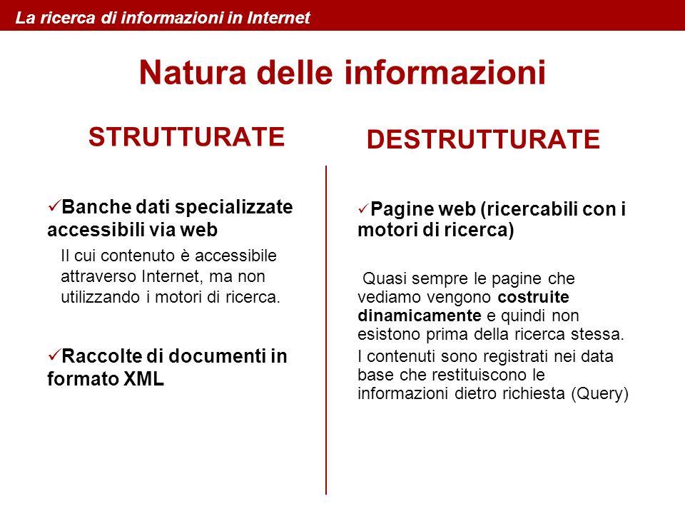 La ricerca di informazioni in Internet