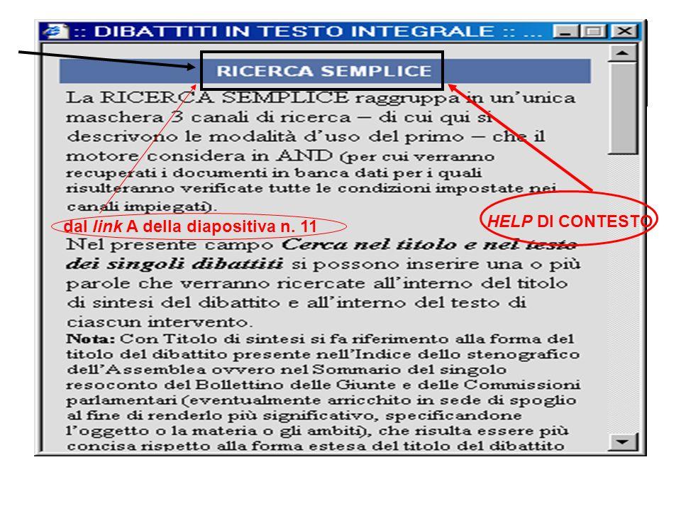 HELP DI CONTESTO dal link A della diapositiva n. 11