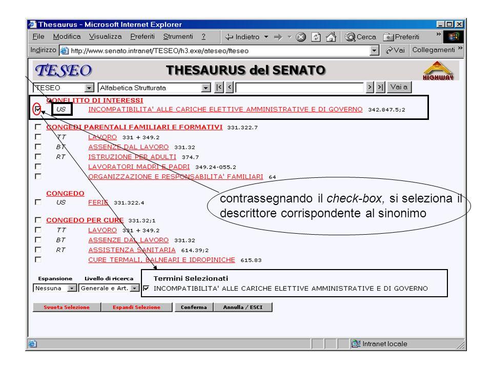 contrassegnando il check-box, si seleziona il descrittore corrispondente al sinonimo