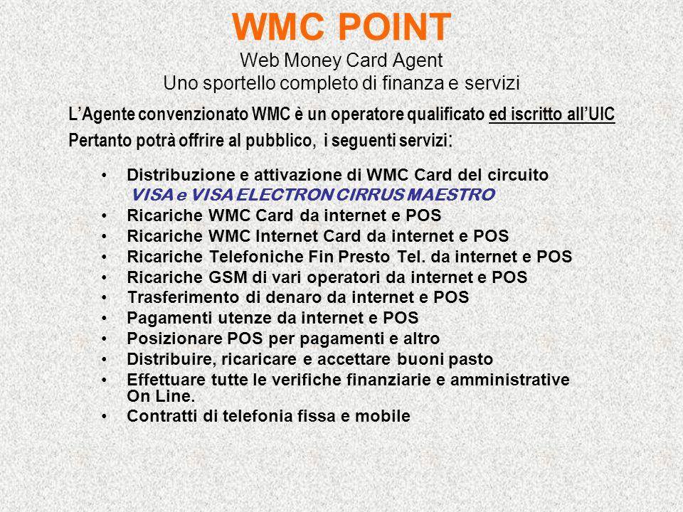 WMC POINT Web Money Card Agent Uno sportello completo di finanza e servizi