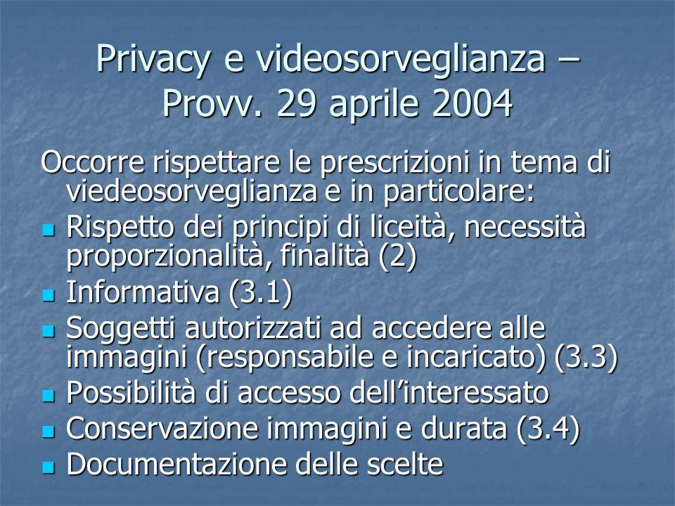 Privacy e videosorveglianza – Provv. 29 aprile 2004