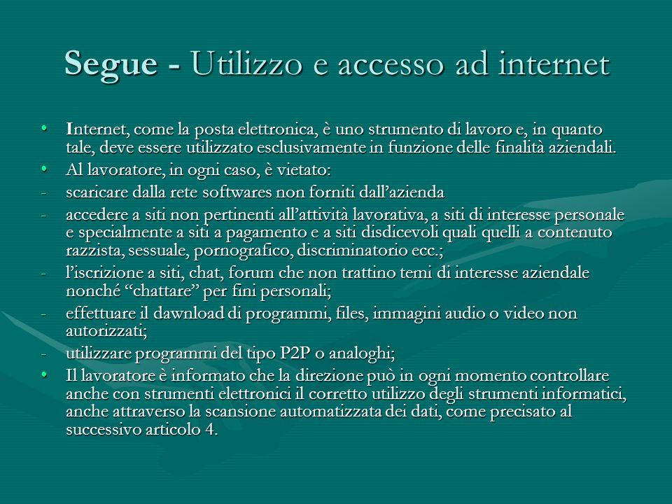Segue - Utilizzo e accesso ad internet