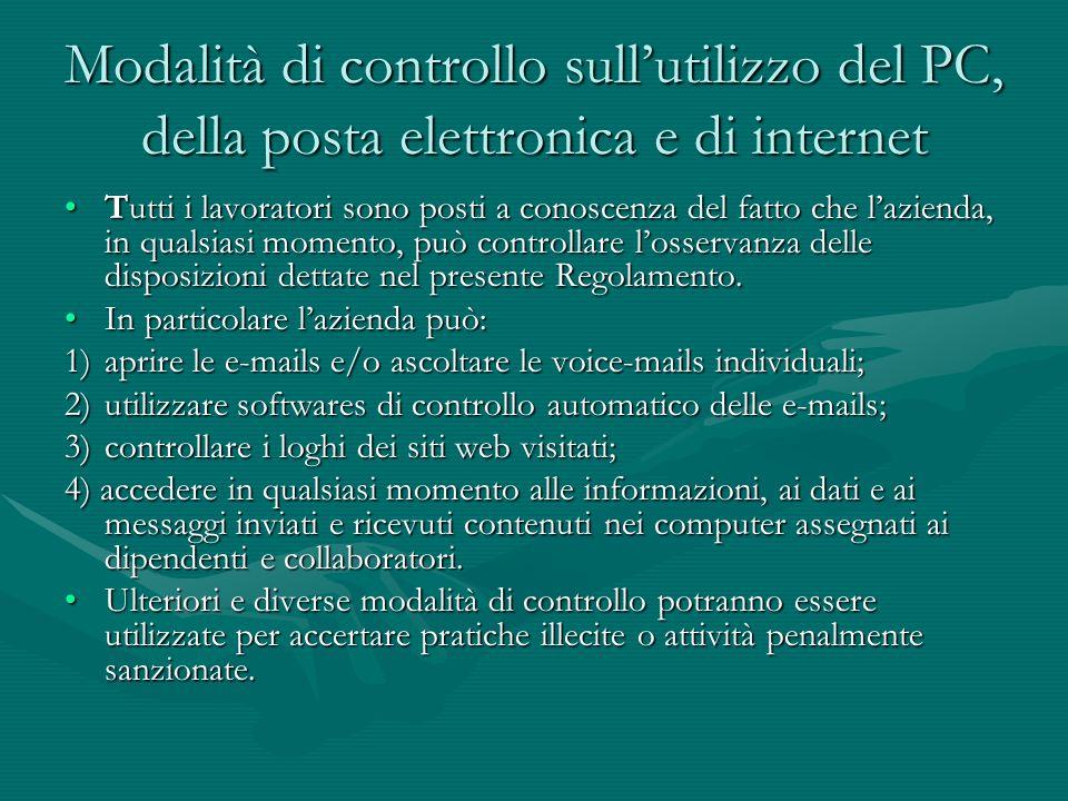 Modalità di controllo sull'utilizzo del PC, della posta elettronica e di internet