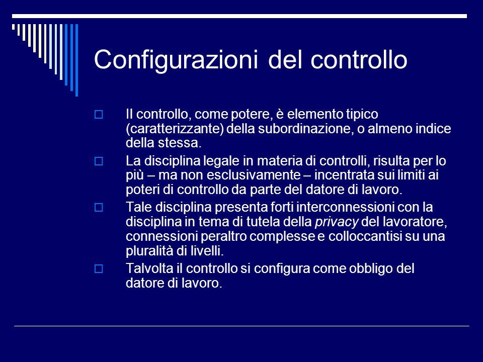 Configurazioni del controllo