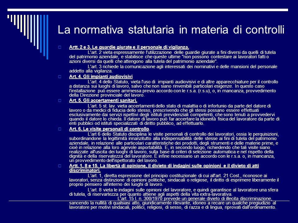 La normativa statutaria in materia di controlli