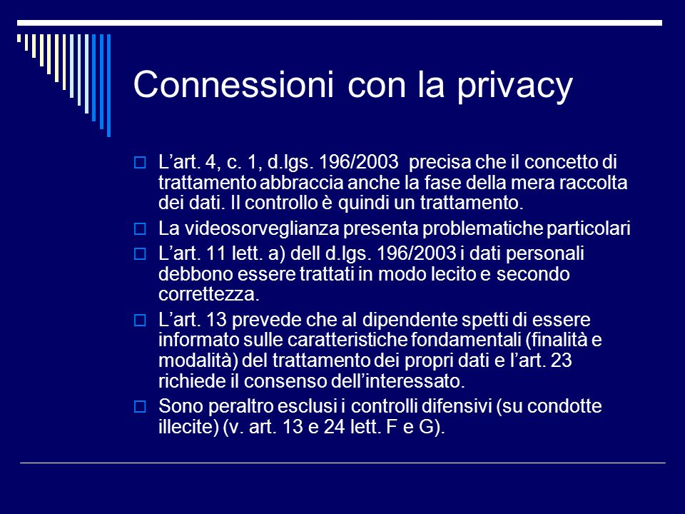 Connessioni con la privacy