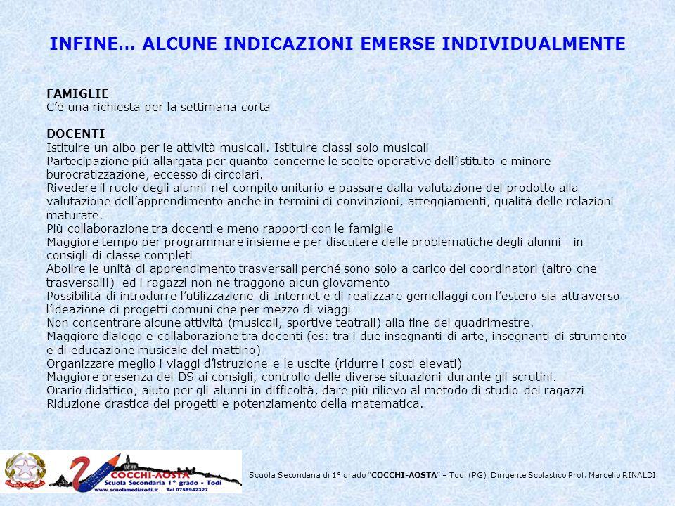 INFINE… ALCUNE INDICAZIONI EMERSE INDIVIDUALMENTE