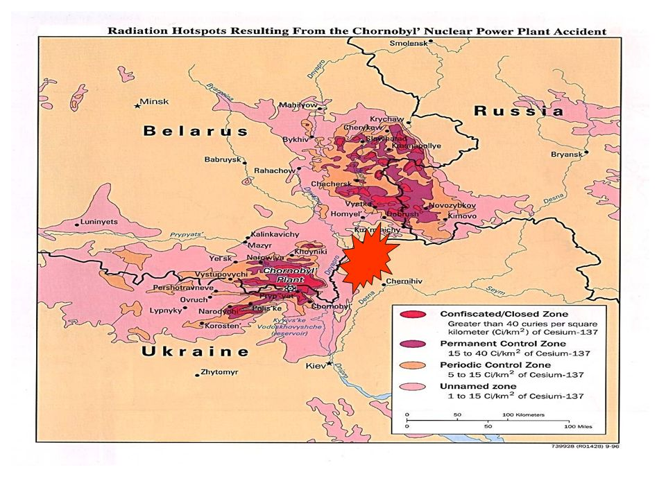 Il più grave incidente nucleare si è avuto nell'impianto di energia nucleare di Cernobil (vicino a Pripjat, in Ucraina) il 26 aprile dell'86. Ai progetti di bonifica hanno partecipato più di 600.000 persone, tra cui 200.000 Ucraini. I lavori si sono svolti fino al 1990. La contaminazione radioattiva si diffuse soprattutto su Ucraina, Russia e Bielorussia. Nella cartina è rappresentata l'intensità della contaminazione. Intorno a Cernobil i livelli di deposizione di Cs-137 sono contaminanti.