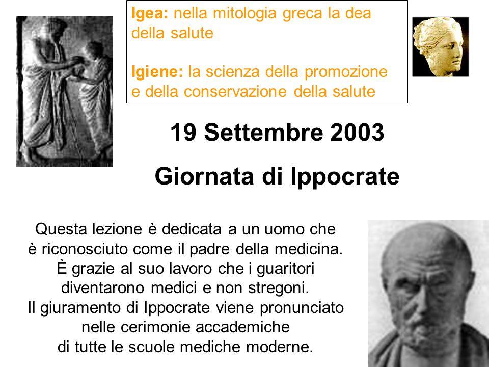 19 Settembre 2003 Giornata di Ippocrate