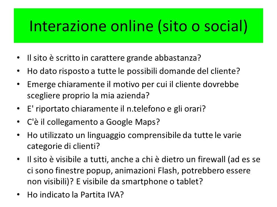 Interazione online (sito o social)