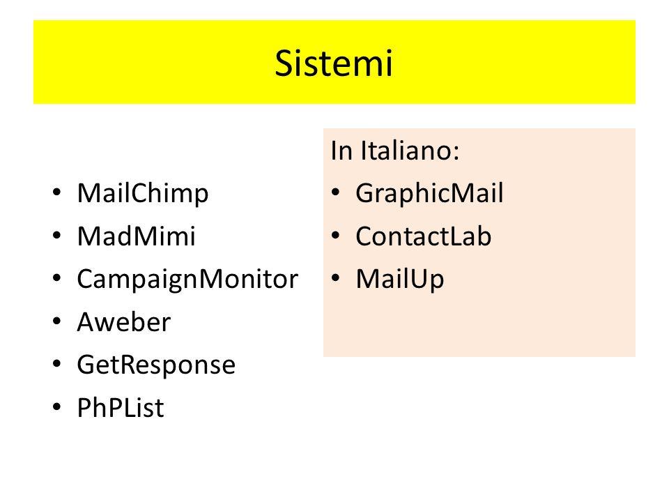 Sistemi MailChimp MadMimi CampaignMonitor Aweber GetResponse PhPList