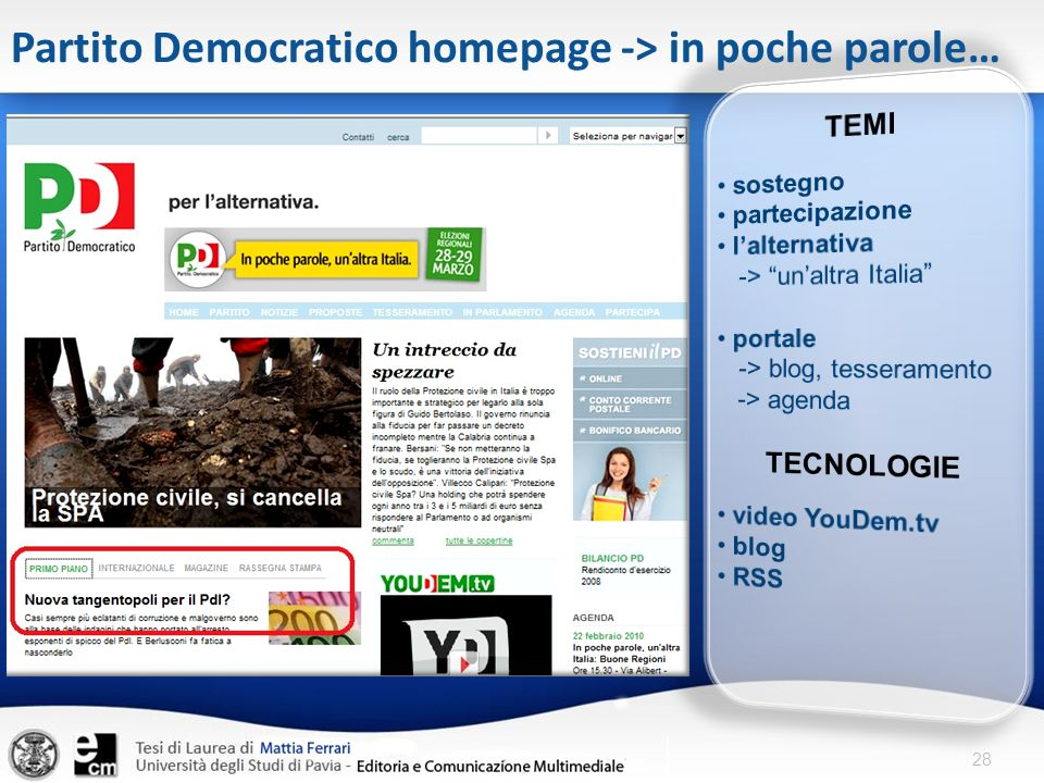 Partito Democratico homepage -> in poche parole…