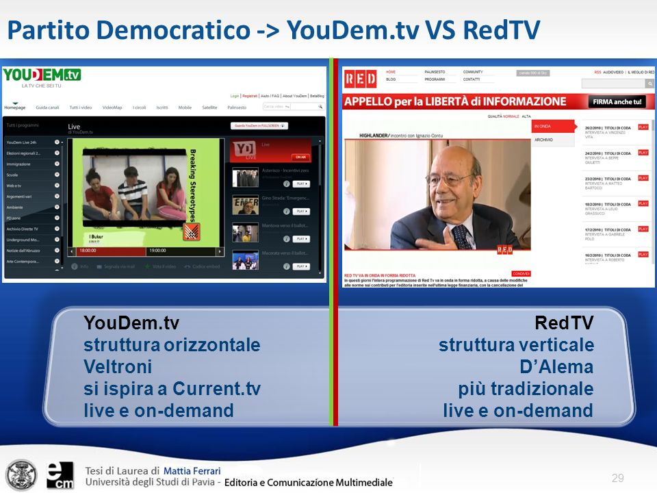 Partito Democratico -> YouDem.tv VS RedTV