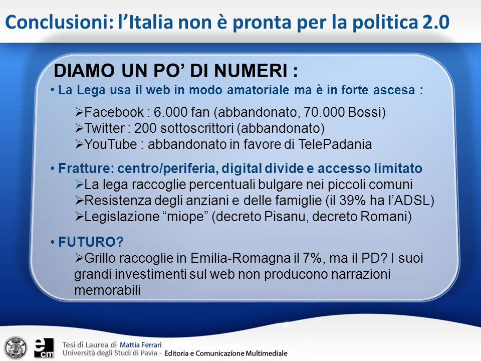 Conclusioni: l'Italia non è pronta per la politica 2.0