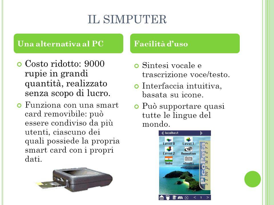 IL SIMPUTER Una alternativa al PC. Facilità d'uso. Costo ridotto: 9000 rupie in grandi quantità, realizzato senza scopo di lucro.