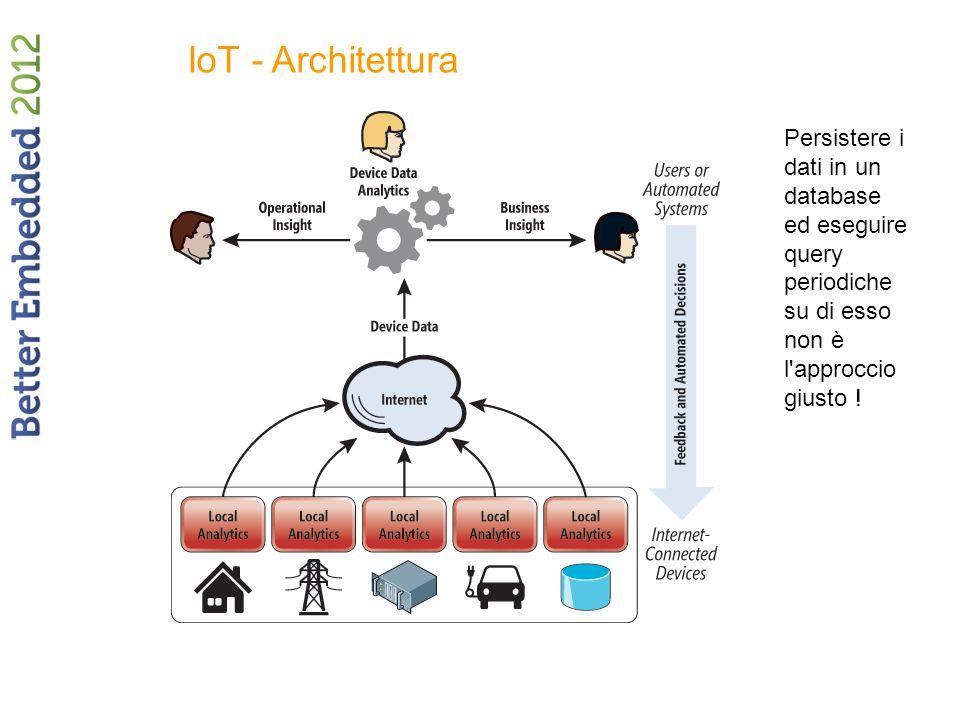IoT - Architettura Persistere i dati in un database ed eseguire query periodiche su di esso non è l approccio giusto !