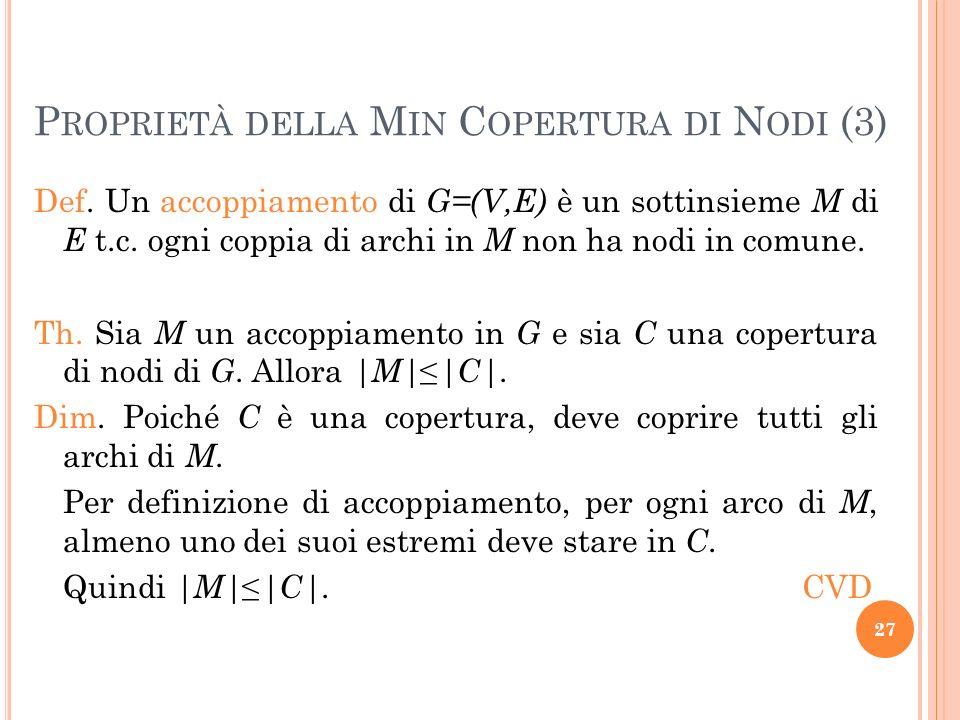 Proprietà della Min Copertura di Nodi (3)