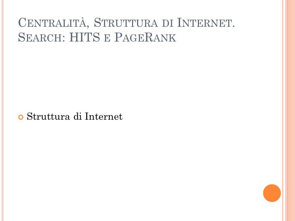 Centralità, Struttura di Internet. Search: HITS e PageRank