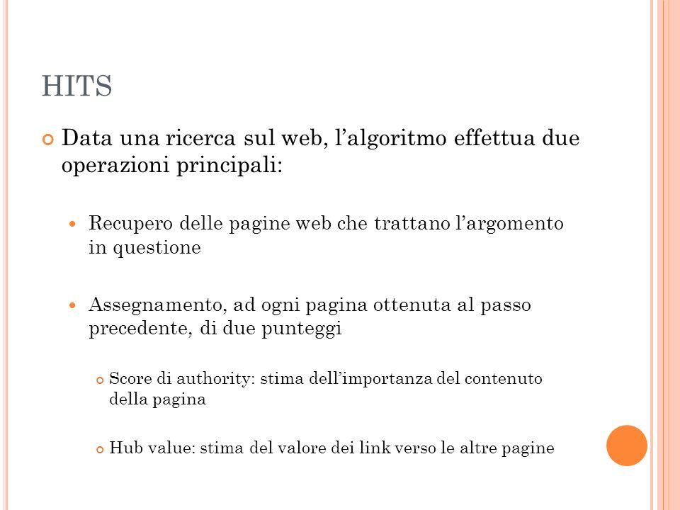 HITS Data una ricerca sul web, l'algoritmo effettua due operazioni principali: Recupero delle pagine web che trattano l'argomento in questione.