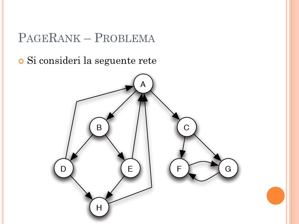 PageRank – Problema Si consideri la seguente rete