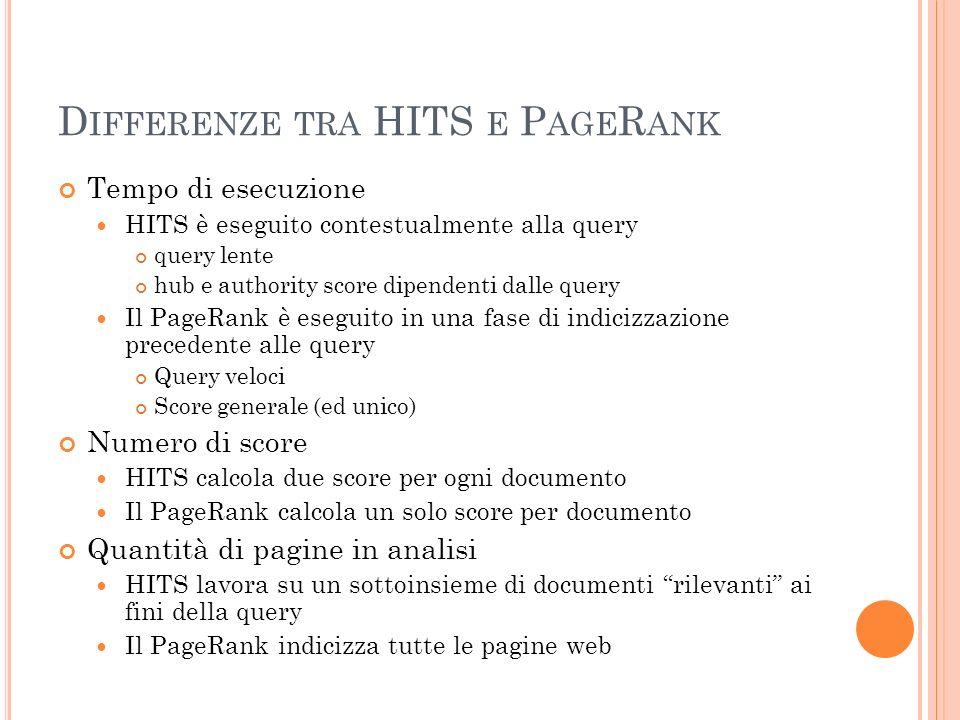 Differenze tra HITS e PageRank