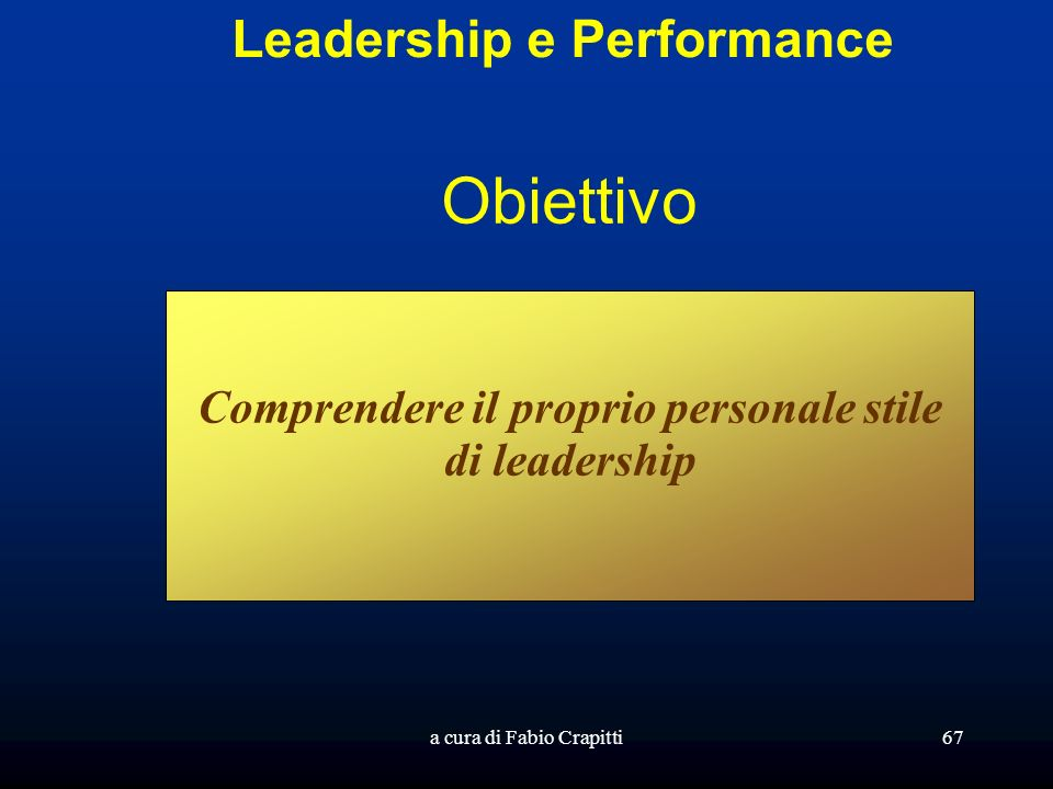 Obiettivo Leadership e Performance