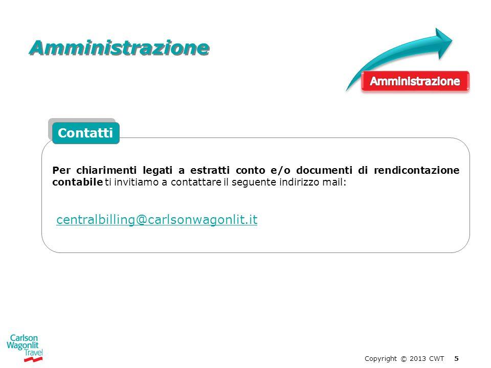 Amministrazione Contatti centralbilling@carlsonwagonlit.it
