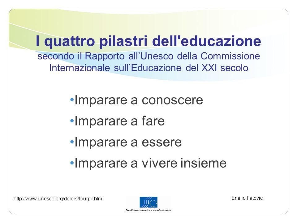 I quattro pilastri dell educazione secondo il Rapporto all'Unesco della Commissione Internazionale sull'Educazione del XXI secolo