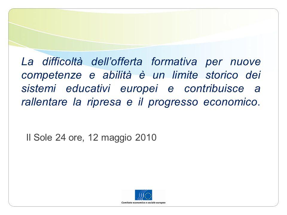 La difficoltà dell'offerta formativa per nuove competenze e abilità è un limite storico dei sistemi educativi europei e contribuisce a rallentare la ripresa e il progresso economico.