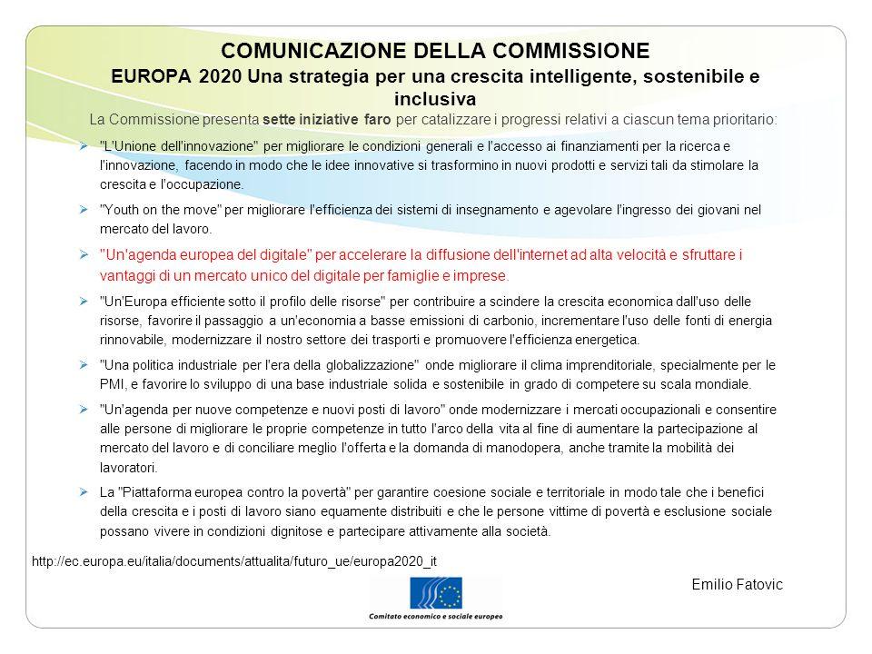 COMUNICAZIONE DELLA COMMISSIONE EUROPA 2020 Una strategia per una crescita intelligente, sostenibile e inclusiva