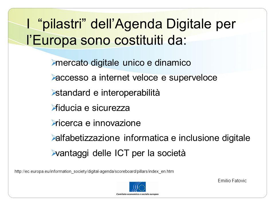 I pilastri dell'Agenda Digitale per l'Europa sono costituiti da: